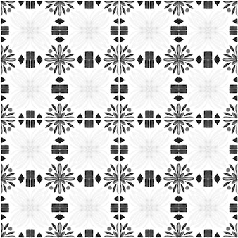 Azulejo watercolor seamless pattern. traditional portuguese ceramic tiles. hand drawn abstract background. watercolor artwork for textile, wallpaper, print, swimwear design. grey azulejo pattern.