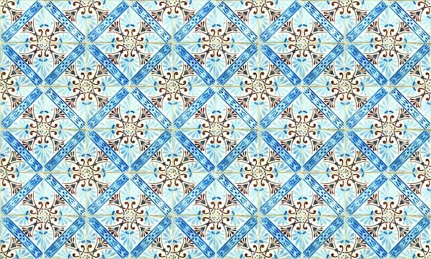 Бесшовные португалии или испании azulejo плитка фон. высокое разрешение.