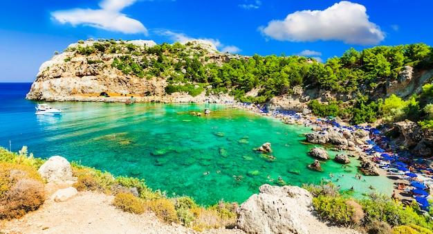 로도스 섬의 푸른 아름다운 해변