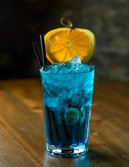 Azure cocktail on the table