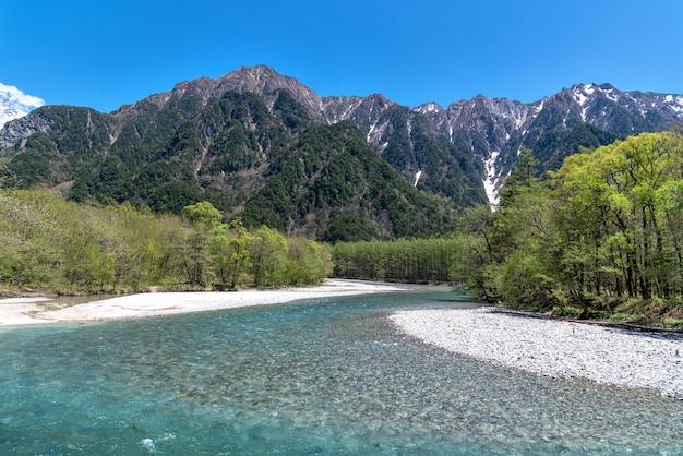Azusa river and hotaka mountain at kamikochi in northern japan alps.