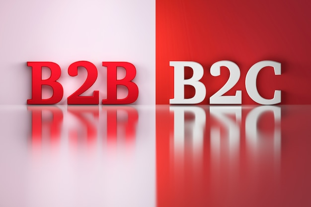 赤と白の反射bの上の白と赤のb2bとb2cの単語
