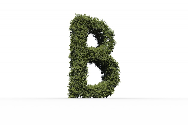 Столбная буква b из листьев