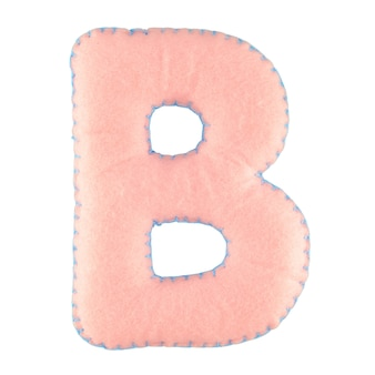 Буква b из войлока на белом фоне