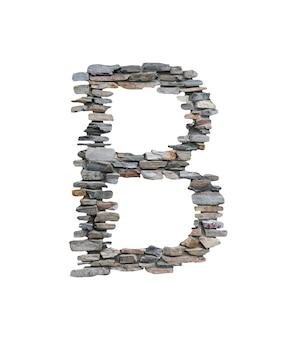 Шрифт b, который нужно создать от каменной стены изолированной на белизне.