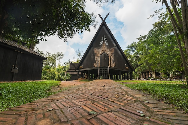 Baandam the thai style traditional wooden house in chiang rai, thailand
