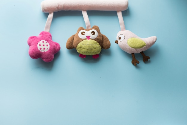 Baby accessories: child toys with copy space; flat lay