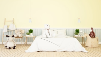 Baby animal doll in bedroom or kid room - 3d Rendering