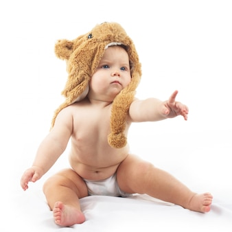 Baby in bear cap