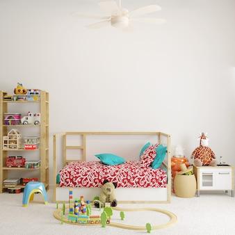 白い壁の前におもちゃの赤ちゃんの寝室