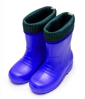 Детские синие резиновые сапоги с манжетой для влажной дождливой погоды