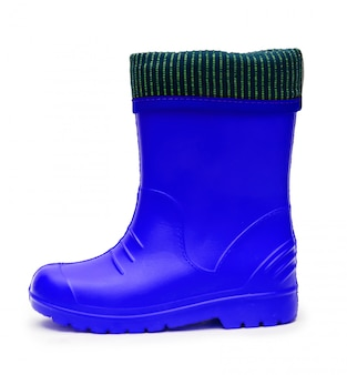 Baby blue rubber boots with a cuff for a wet rainy weather