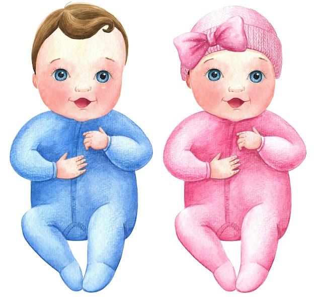 男の子赤ちゃん女の子新生児保育園水彩イラストセット双子分離