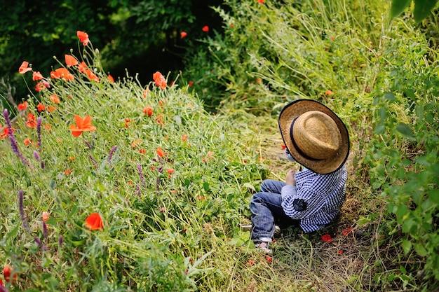 Baby boy in a hat on a background of poppy field