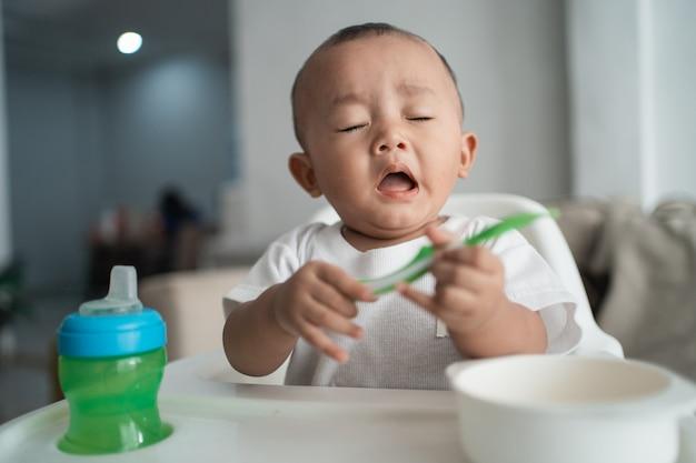 Baby boy sneezing
