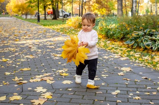 Малышка несет маме букет из желтых кленовых листьев