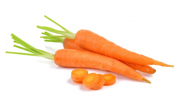 Baby carrots isolated on a  white
