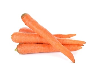 Baby carrots on white background