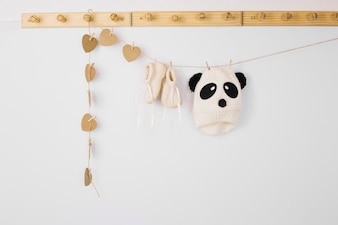 Baby clothes and heart decorations