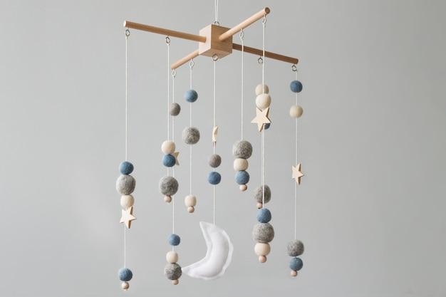 신생아 침대 위에 별 행성과 달 아이 수제 장난감이있는 아기 침대 모바일 첫 아기 ec ...