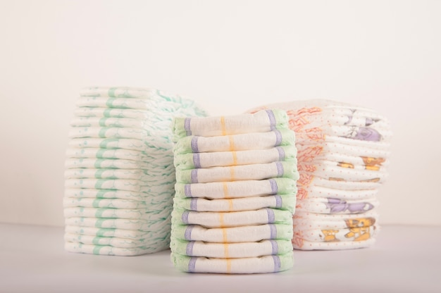 Baby diapers on a white background close-up