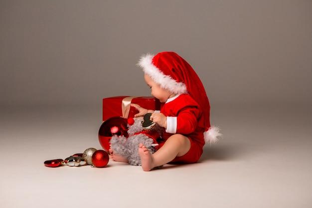 Baby dressed like santa