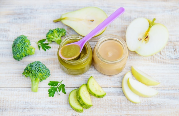 Baby food in small jars.