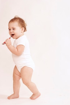 Baby full body happy with toothbrush