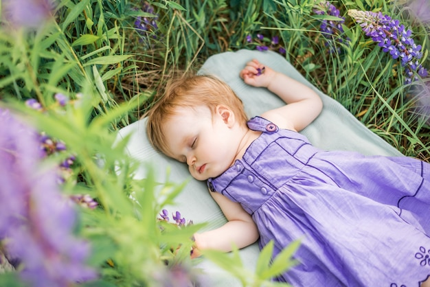 Девочка 1 лет спит на природе среди цветов