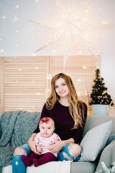 Девочка-дочь с мамой на диване возле елки с рождеством