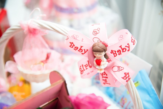 Baby girl decoration. candy boxes.