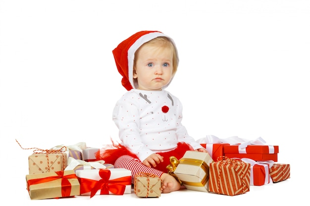 Baby girl and gift isolated