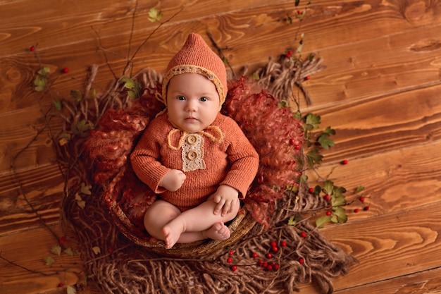 カボチャ、果実、感謝祭やハロウィーンの葉を持つ秋の装飾の女の赤ちゃん