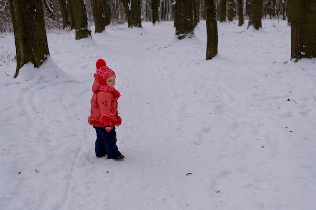 숲에서 눈으로 걷는 빨간 재킷에 아기 소녀.