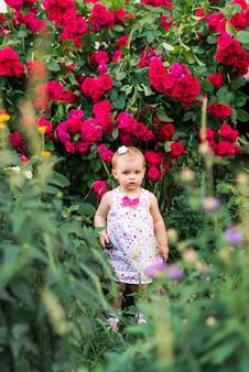 Девочка в летнем платье на фоне красных роз.