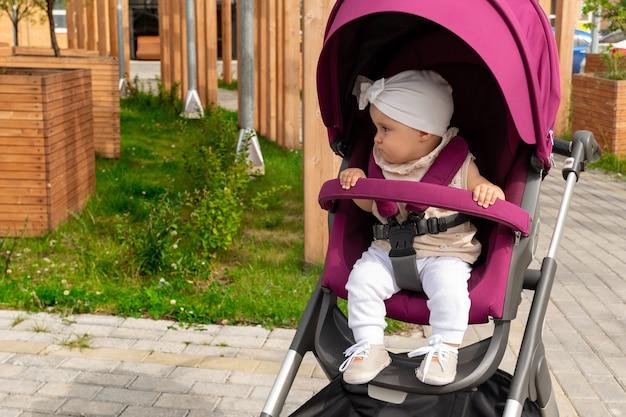 女の赤ちゃんがベビーカーに座って一人で行きたい
