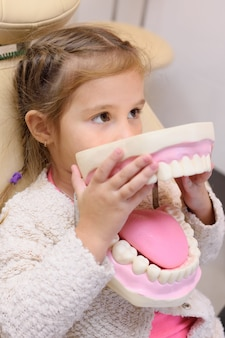 Baby girl sitting in dental chair with artificial jaw in hands