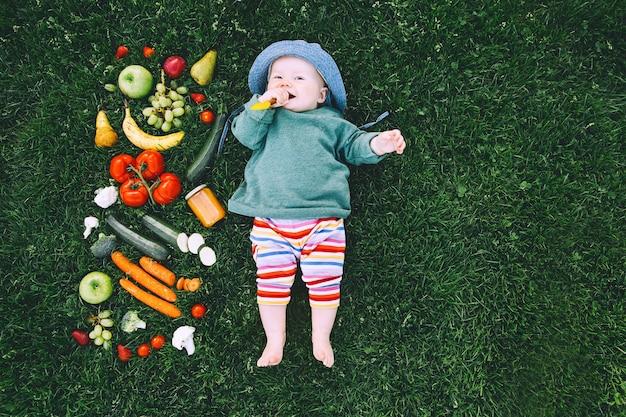 緑の草の上にさまざまな新鮮な果物野菜の食べ物やフレームを試して色とりどりの服を着た赤ちゃん
