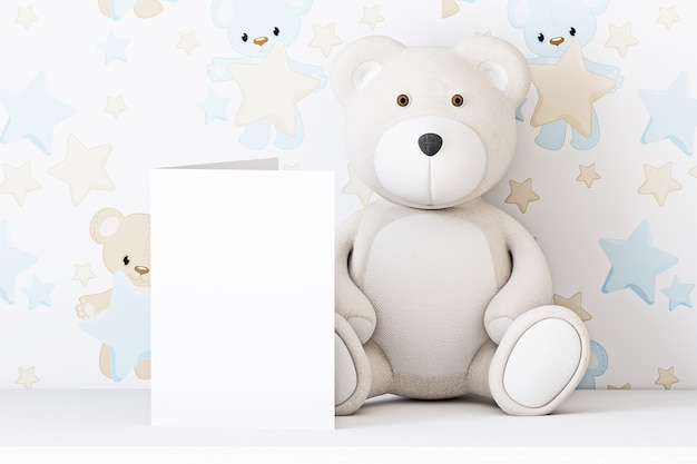 Baby invitation card mockup