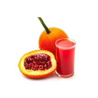 Baby jackfruit, gac fruit with baby jackfruit juice isolated on white.
