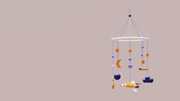 Baby mobile devoted to space