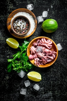 Baby octopus with ice pieces, spices and lime. on dark rustic table