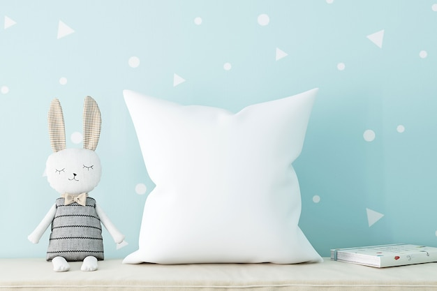 Baby pillow mockup on blue background