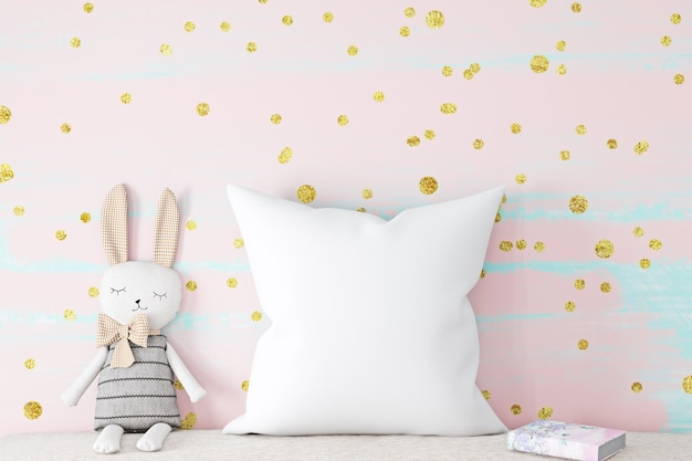 Baby pillow mockup on pink background