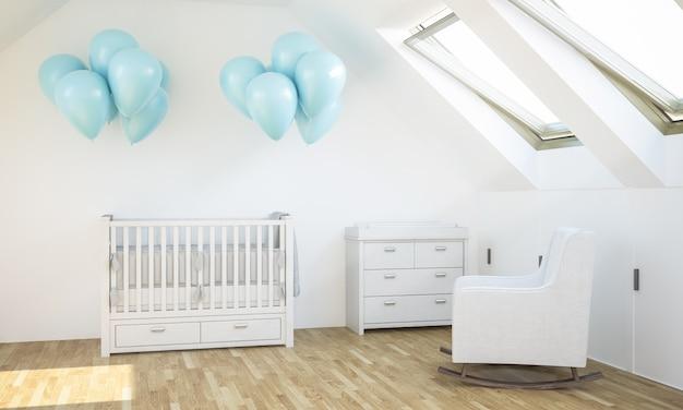 Детская комната с голубыми шарами