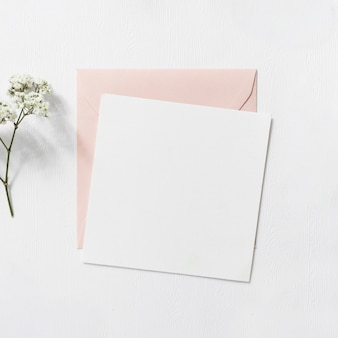Baby's-breath flowers and pink and white envelope on white background