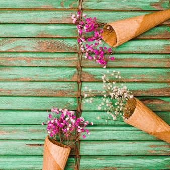 Baby's-breath flowers in waffle cone on wooden shutter