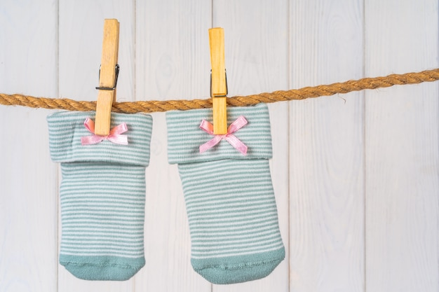 Baby socks on a clothesline, baby clothes washing