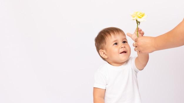 Малыш мальчик держит одну желтую розу улыбается на белой поверхности