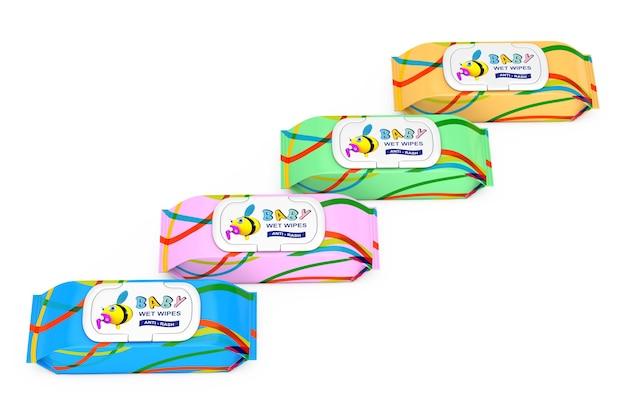 Детские влажные салфетки цветные пакеты на белом фоне. 3d рендеринг